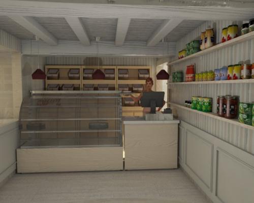 Vista de panaderia con mostrador y vitrina